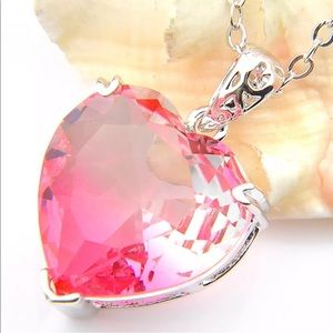20 CTS PINK TOPAZ HEART PENDANT NECKLACE